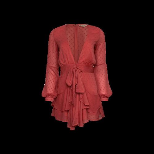 "For Love & Lemons Pink Flamingo ""Tarta"" Long Sleeve Mini Dress"