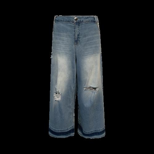 Eloquii Blue Distressed Wide Leg Mom Jeans