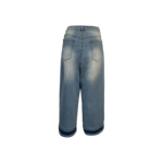 Blue Distressed Wide Leg Mom Jeans