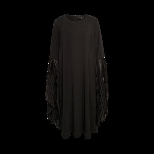 Eloquii Black Accordion Pleat Sleeve Dress