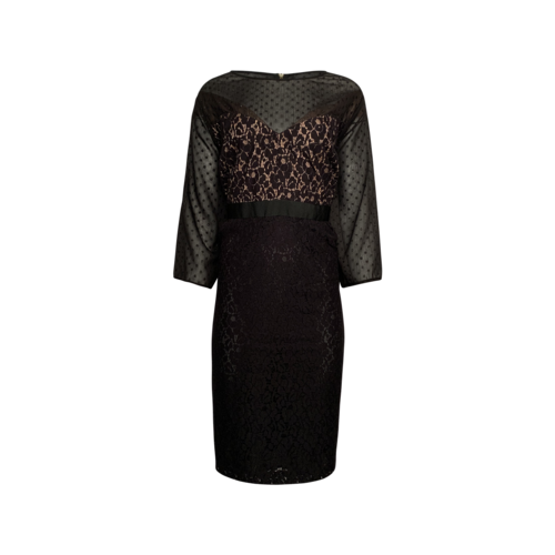 Clements Ribeiro Black Sheer Lace Overlay Dress