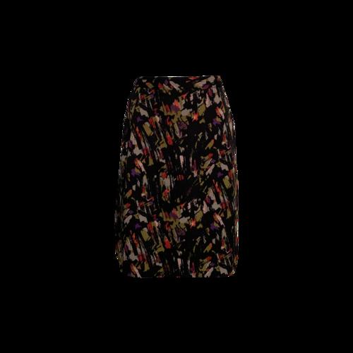Vintage Multi-Color Brushstroke Print Skirt