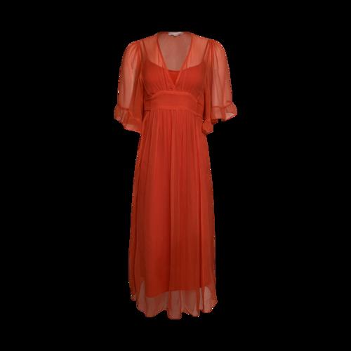 Betsey Johnson Orange Sheer Tie Waist Dress