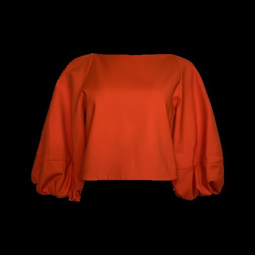 Tibi Red Orange Balloon Sleeve Top