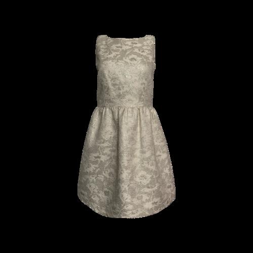 Alice + Olivia Metallic Brocade Open Back Dress