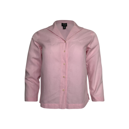 Eileen Fisher Pink Ribbed Cotton Button-Up Top