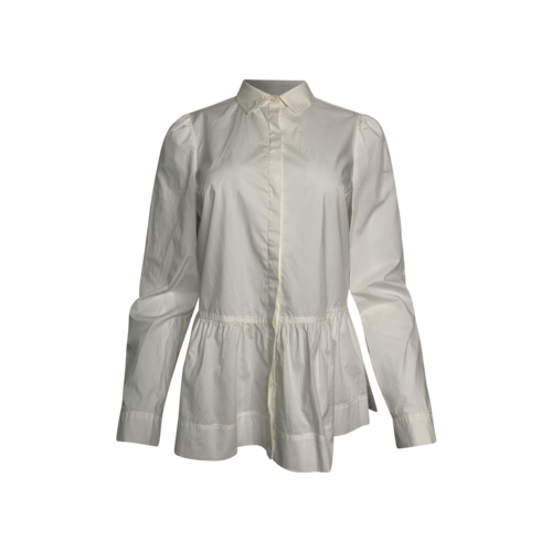 Rebecca Taylor White Peplum Button-Up Long Sleeve Top