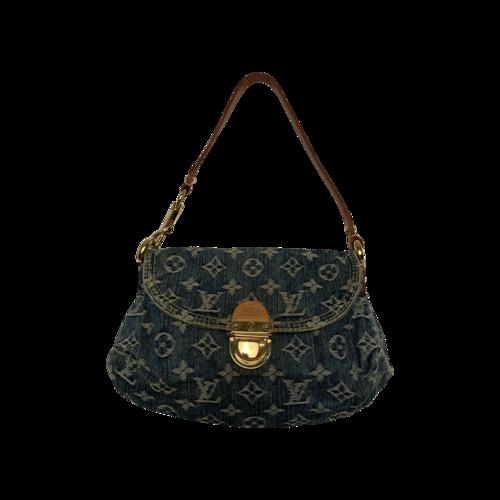 Louis Vuitton Blue Pleaty Handbag Denim Mini