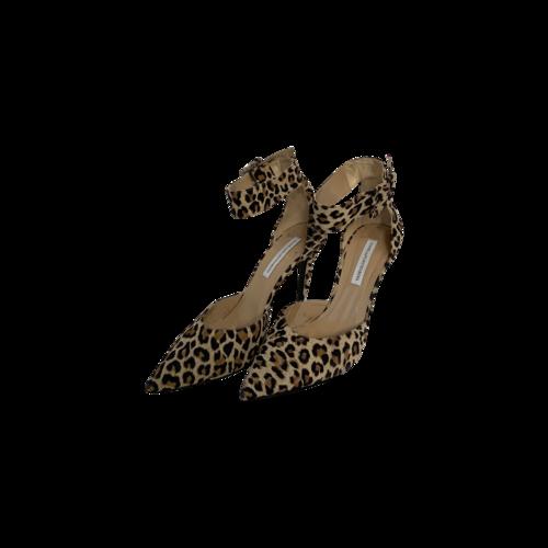"""Diane von Furstenberg Leopard """"Buckie"""" Ankle Strap Pointed Heels"""