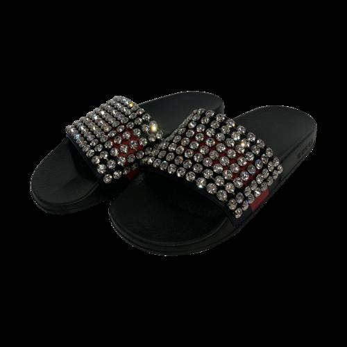 Gucci Black Calfskin Crystal Web Slide Sandals