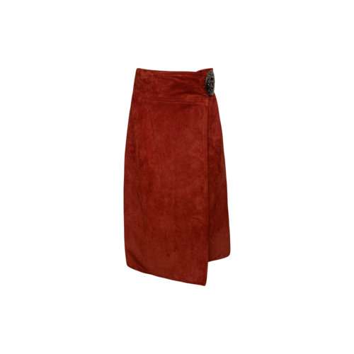 Anne Klein Red Suede Leather Wrap Skirt