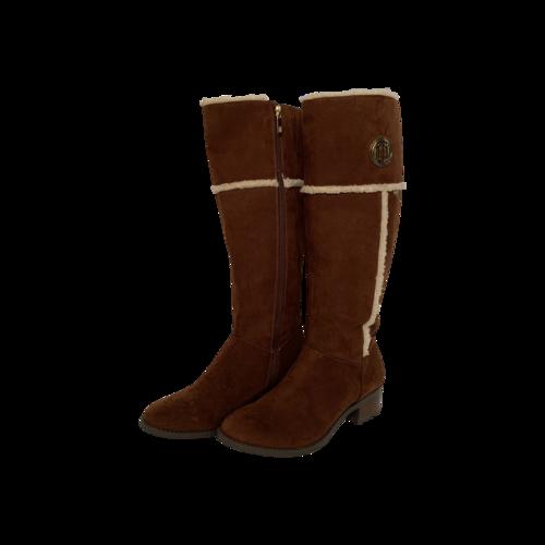 Tommy Hilfiger Brown Logo Knee High Suede Boots