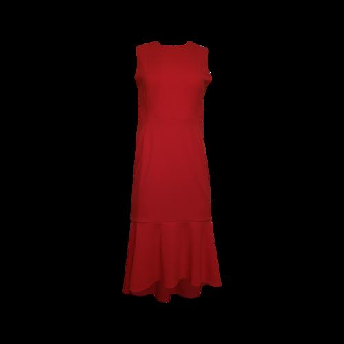 Calvin Klein Red Flounce Hem Dress
