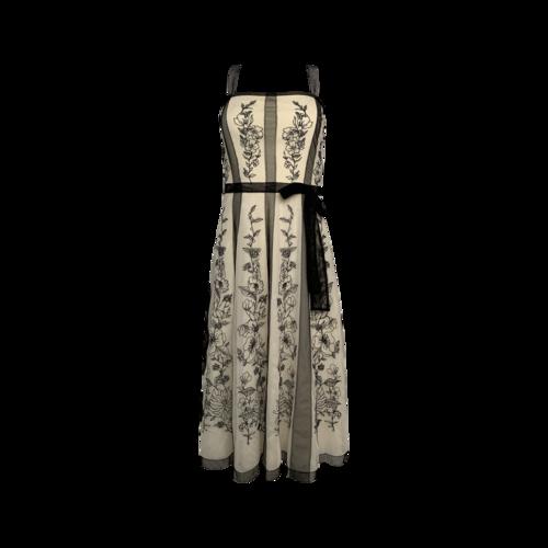 BCBGMAXAZRIA Floral Embroidered Mesh Tea Dress