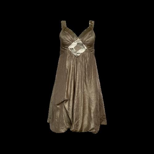 BCBGMAXAZRIA Gold Sequined Dress w/ Bubble Skirt