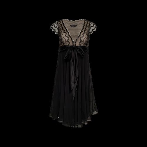 BCBGMAXAZRIA Black Beaded Dress w/ Flowy Skirt
