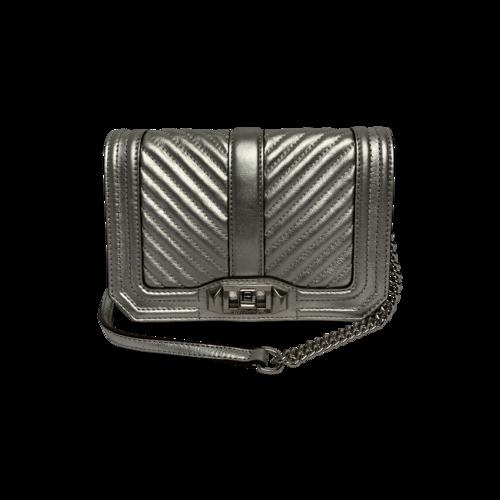 Rebecca Minkoff Small Love Metallic Silver Leather Crossbody Bag