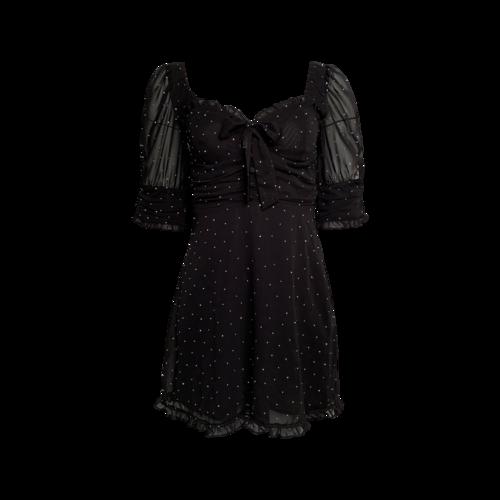 For Love & Lemons Black Lucky Dice Rhinestone Mini Dress