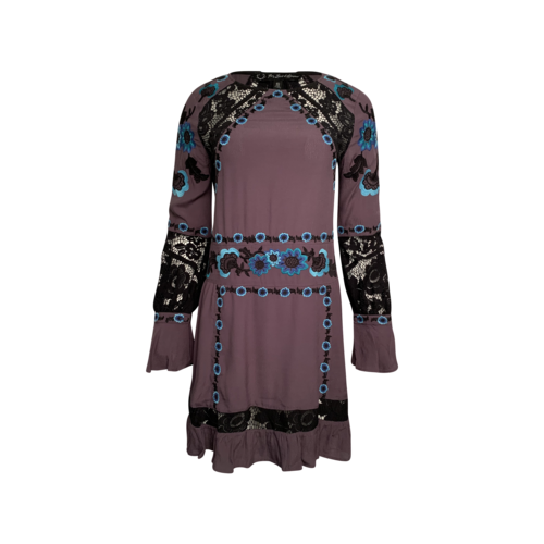 "For Love & Lemons Purple ""Cecelia"" Mini Lace Panel Dress"