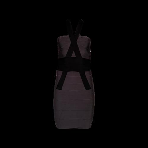 Herve Leger Grey Halter Neck Bandage Dress
