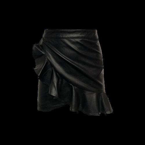 Majorelle Black Faux Leather Ruffle Mini Skirt