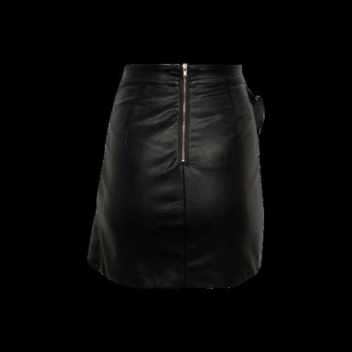 Black Faux Leather Ruffle Mini Skirt