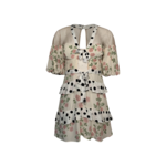 """Butterscotch"" Tiered Mini Mixed Print Dress"