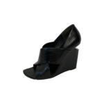 "Black ""Lizard"" Embossed Leather Wedge Sandals"