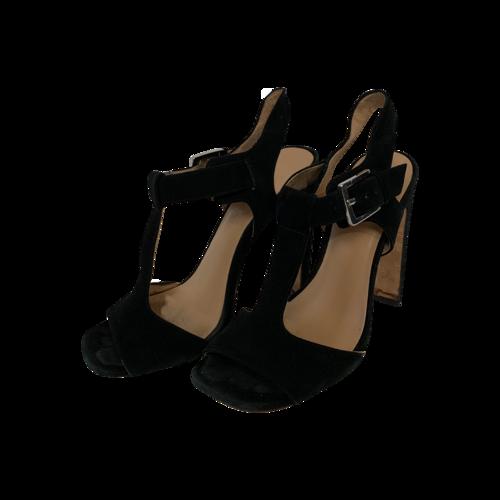 "Halston Black ""Vera"" Sude T-Strap Sandals"