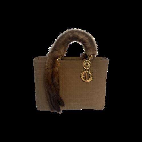 Dior Brown Lady Dior Bag w/ Fur Handles