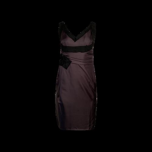 Prada Grey V-Neck Ribbon Dress