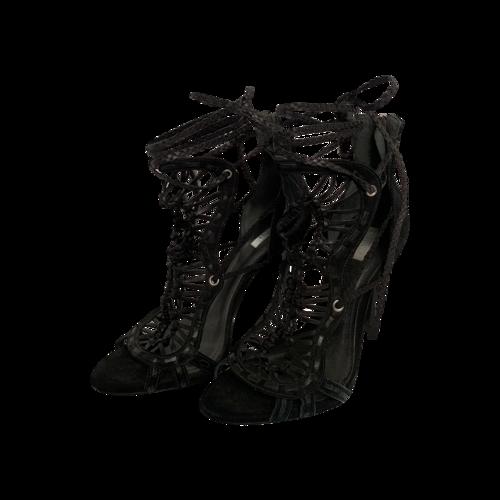 "Schutz Black ""Dubai"" Leather Gladiator Ankle Tassel Sandals"