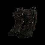 """Black """"Dubai"""" Leather Gladiator Ankle Tassel Sandals"""