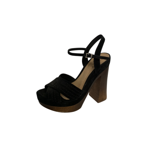 Black Criss-Cross Wooden Block Heel Sandals