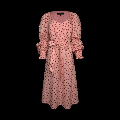 Eloquii Pink Polka Dot Sweetheart Midi Dress