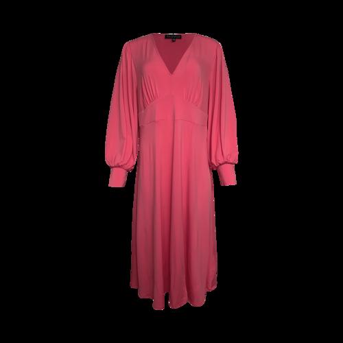 Eloquii Pink V-Neck Knit Midi Dress