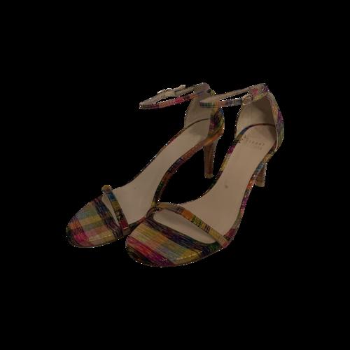 Stuart Weitzman Printed Plaid Nunaked Ankle Strap Sandals