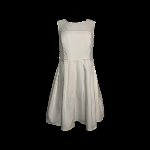 Halston White Mesh Neckline Dress