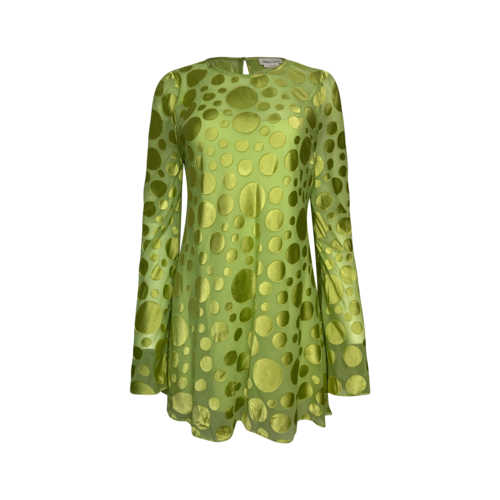 Lovers and Friends Green Polka Dot Flare Sleeve Dress