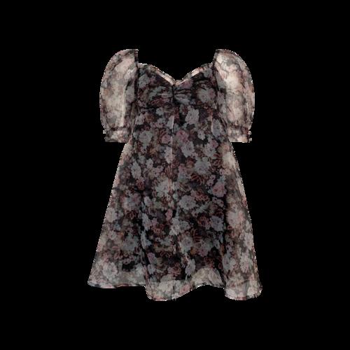 "For Love & Lemons Floral Print ""Faye"" Puff Sleeve Mini Dress"