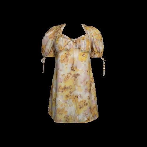 "For Love & Lemons ""Zinna"" Mini Dress in Lemonade Print"