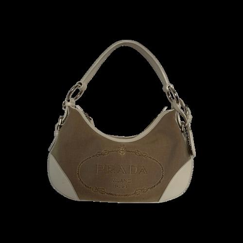 Prada White Jacquard Logo Hobo Bag