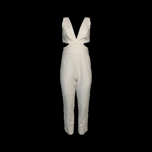 BCBGMAXAZRIA Off-White Cut Out Jumpsuit