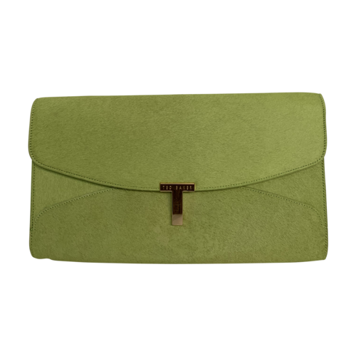 """Ted Baker Olive Green """"Taffety"""" T Clasp Clutch"""
