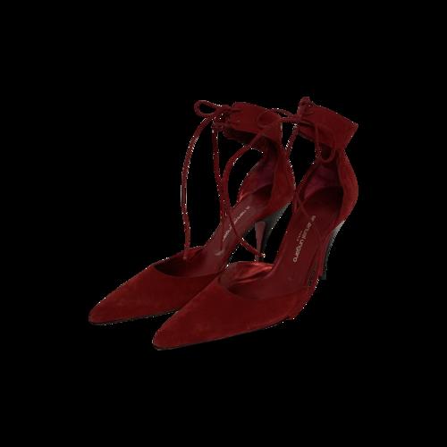 Emanuel Ungaro Red Satin Ankle Straps Stiletto Heels