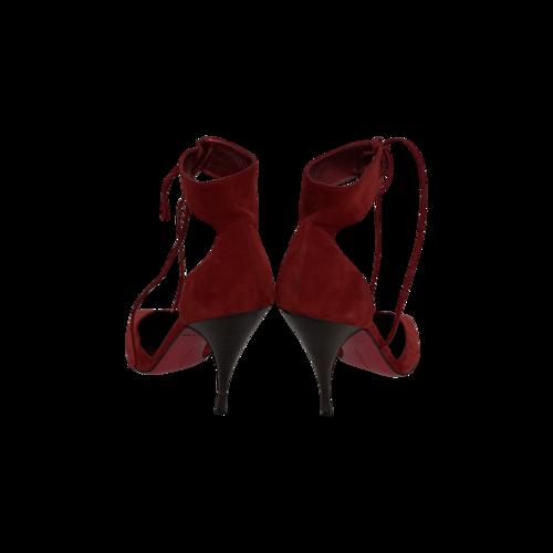 Red Satin Ankle Straps Stiletto Heels