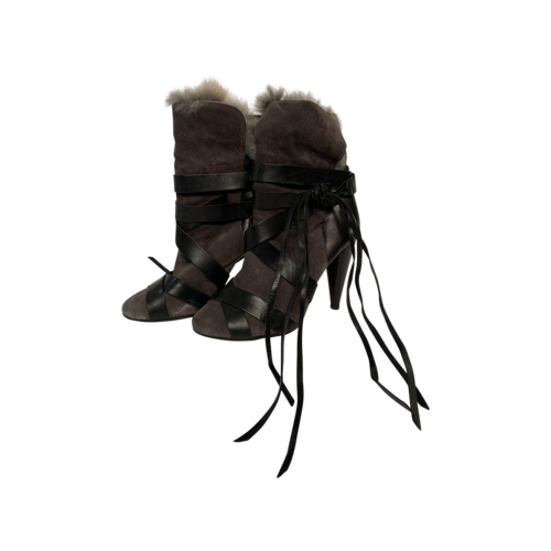 "Isabel Marant ""Neta"" Black Leather Suede Rabbit Fur Ankle Boots"