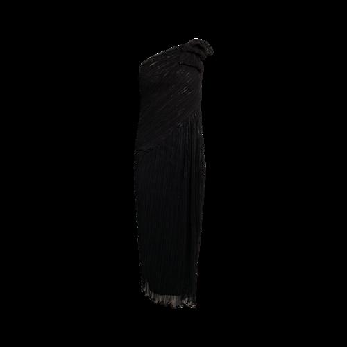 Tadashi Shoji Black One-Shoulder Bow Sequin Gown