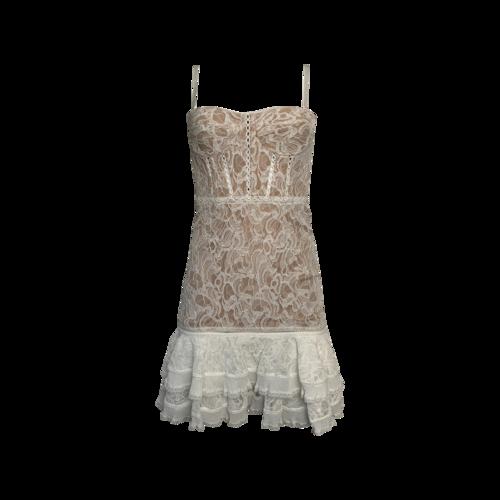 Jonathan Simkhai White Multimedia Corded Lace Ruffle Mini Dress