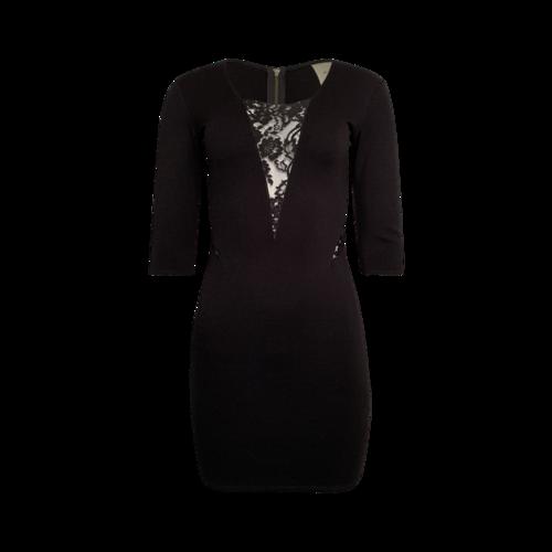 Mason Black Lace Paneled Ponte Mini Dress